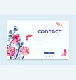 website contact form template with floral elements vector image