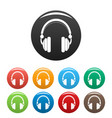 wired headphones icons set color vector image