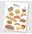 bakery doodles lined paper colored vector image