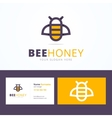 Bee honey logo and business card template vector image