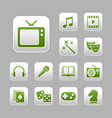 Entertainment icon set green metallic theme vector | Price: 1 Credit (USD $1)