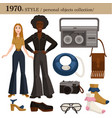 1970 fashion style man and woman personal objects vector image