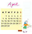april 2014 kids calendar vector image vector image