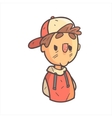 Bored Boy In Cap And College Jacket Hand Drawn vector image vector image