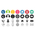business card contact information icons vector image vector image