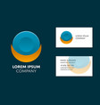 business card template with circle logo vector image