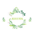 cartoon abstract green plant frame vector image vector image