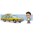 cartoon boy character with yellow retro taxi car vector image vector image