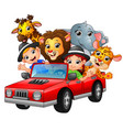 cartoon kids driving a red car with wild animals vector image