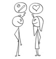 cartoon of man and woman talking about baseball vector image vector image