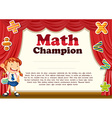 Certification with girl and math theme vector image vector image