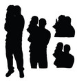 child silhouette with father in black color vector image vector image