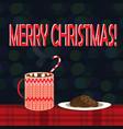 christmas of mug with hot cocoa and vector image vector image