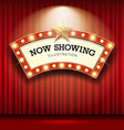 cinema theater curve sign red curtain light up vector image vector image