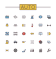 Colored Auto Line Icons vector image vector image