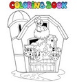 coloring book with barn and animals vector image