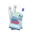 couple of simple twenty euro banknotes on white vector image vector image