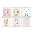 cute baanimals with window cartoon hand drawn vector image vector image