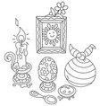 easter collection with a smiling sun vector image