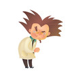 Evil mad professor with raised eyebrow in lab coat vector image vector image