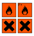 Extremely flammable and harmful sign set