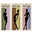 Fashion models in sketch style labels vector image vector image