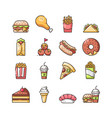 fast food outline color icons set vector image