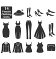Female Clothing Icons vector image vector image
