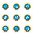 forest snake icons set flat style vector image vector image