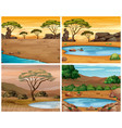 four savanna scenes at different times of day vector image vector image