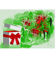 gift with red bow and tree vector image vector image