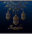 hanging golden lamps for ramadan kareem festival vector image vector image