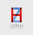 hz logo letters with blue and red gradation vector image vector image
