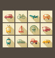 icons of transport in retro style vector image vector image