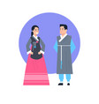 korea traditional clothes asian couple wearing vector image vector image