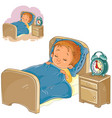 little basleeping in his bed vector image