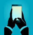 man hand holding smartphone vector image vector image