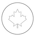 maple leaf the black color icon in circle or round vector image
