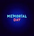 memorial day neon text vector image