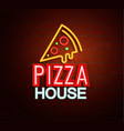 neon sign of pizza house vector image vector image