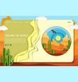 paper cut desert trip landing page website vector image