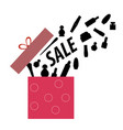 pink gift box with cosmetics vector image