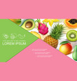 realistic exotic fruits colorful composition vector image