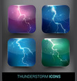 realistic thunderstorm elements set vector image
