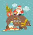 santa claus riding on back friendly bear vector image vector image