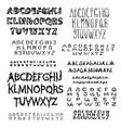set calligraphic script font vector image