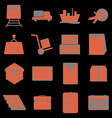 Shipping icons on black background vector image vector image
