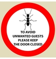 Sticker with Warning sign insect icon ant Ant vector image vector image