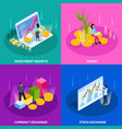 stock exchange isometric icon set vector image vector image