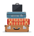 travel suitcases stacked vector image
